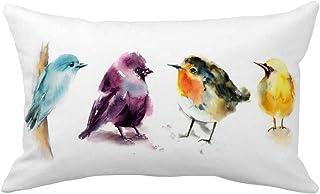 YANGYULU Animal Theme Pillow Covers Decor Super Soft Grey Background Birds Sea Gull Print Cushion Case Cover Rectangle Thr...
