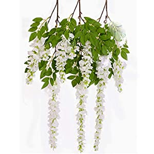PARTY JOY 3pcs 55IN Artificial Fake Wisteria Vine Ratta Flower Garland Hanging Garland Silk Flowers String Home Party Wedding Decor