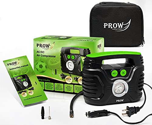 Prow Portable Air Compressor Tire Inflator AC/DC Electric Pump for Car – DC 12V, Home – AC 110V, Upscale, with Analog Pressure gauge, Air pump for Car Tires, Motorcycle, Bike, Basketball and More.