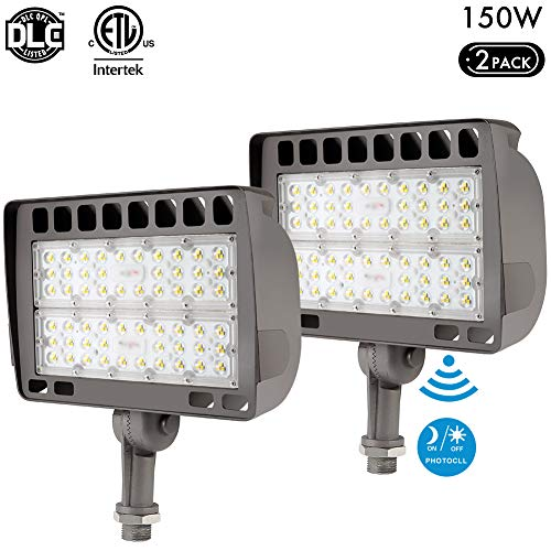 Lightdot 2 Pack 150W LED Outdoor Flood Light with Knuckle, 5000K Daylight, 15000lm Super Brigh, Dusk to Dawn Photocell Sensors, IP65 Waterproof Security Light for Gardens Yards and Parking Lot