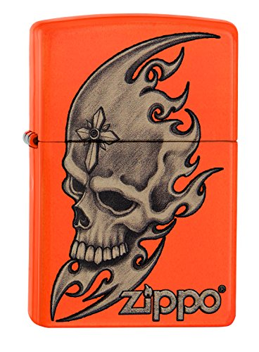 Zippo 60001887 Skull Head Feuerzeug, Messing, Edelstahloptik, 1 x 3,5 x 5,5 cm