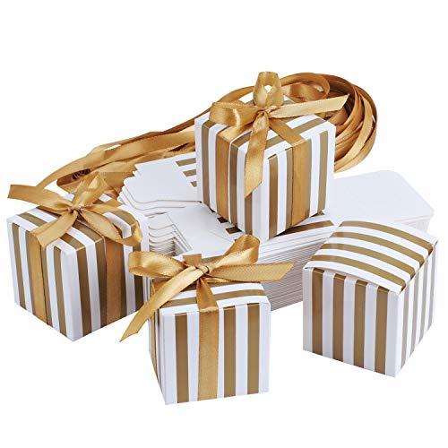 TsunNee Square Paper Candy Box, süße Hochzeitsbevorzugungskästen, gestreifte Party-Geschenkbox, kreative Papier-Geschenkboxen (Gold)