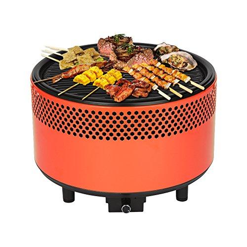 Kbabe Barbacoa de carbón vegetal, diámetro de 34 cm, sin humo, color naranja