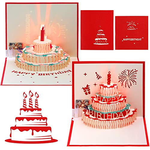 2 Packs 3D Happy Birthday Pop-Up Card LED Light Happy Birthday Music Card 3D Pop-Up Greeting Cards Handmade 3D Pop-Up Birthday Cards with Envelope for Family, Friend, Boy, Girl and Kids (Red)