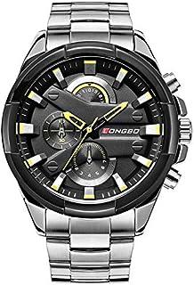 LONGBO Analogue Men's Watch (Black Dial Silver Colored Strap)