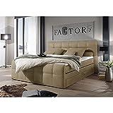 Lomadox ® Boxspringbett mit Bettkasten 180x200 cm, Hotelbett Doppelbett in Sand, Komfortschaum-Topper, 180 x 200 cm, H2, 7-Zonen-Taschenfederkern-Matratze