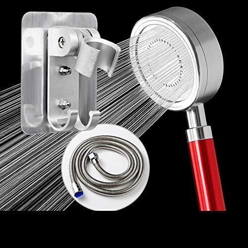 Duschkopf Hochdruck Wassersparend Mit An/Aus-Schalter,Badezimmer-Handbrause Für Wassermassage, Großer Raum Aluminium Roter 2 Meter Schlauchloser Nagelhaken