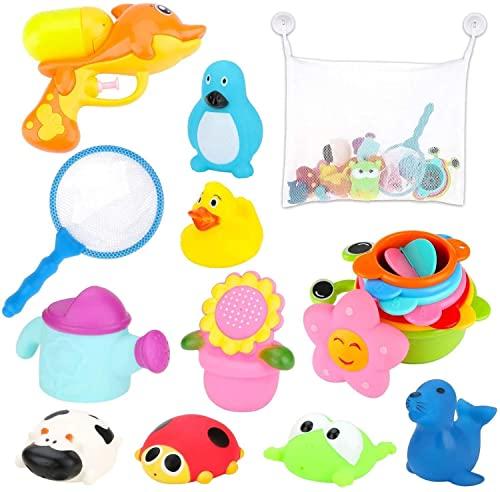 BBLIKE Bath Toys, 1 x Mesh Bath Toy Storage Bag, 1 x Water Gun, 1 x Fishing Net, 7 x Stacking Cups, 9 x Floating Animal Toy 19 Pcs Bath Toys Set Babies 18+ months for Bathtub, Swimming Pool