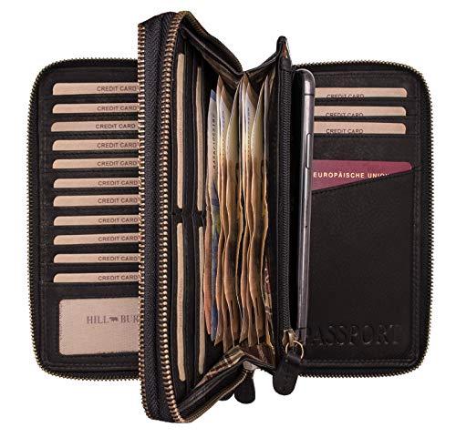 Hill Burry Leder Reisebrieftasche | Dokumententasche - Travel/Wallet aus naturgegerbtem hochwertigem Rindsleder | Organizer/XXL Mappe | Geldbörse Portemonnaie Portmonee (Schwarz)