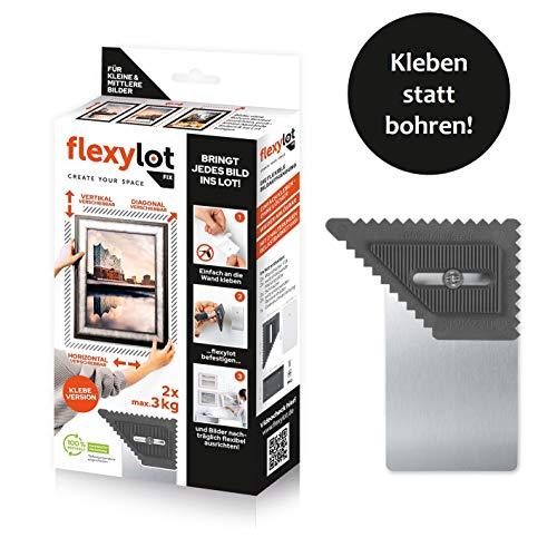 flexylot Bildaufhänger - 2x Fix | Flexibel ohne Bohren für leichtere Bilder bis 3 kg | Nachträglich flexibel ausrichtbar | Für nahezu alle handelsüblichen Rahmen & Bilder