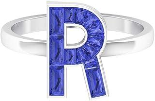 Anillo de letra inicial, 1,46 quilates de tanzanita creada en laboratorio, anillo de letra R, anillo de baguette cónico, j...