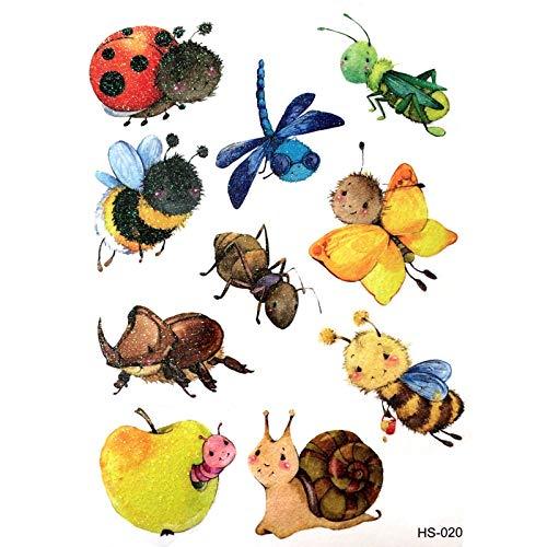 3PCS Cute Bee Waterproof Temporary Tattoos Men Snails Harajuku Flash Gold tattoo Kids ladybug henna tatoo Animal temporary tatto