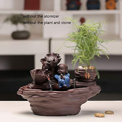 110V-220V Zen-Wasser-Brunnen Keramik Rockery Statuen Handwerk Heim Luftbefeuchter Feng Shui Dekoration Blumentopf Bonsai-Brunnen Geschenk: A
