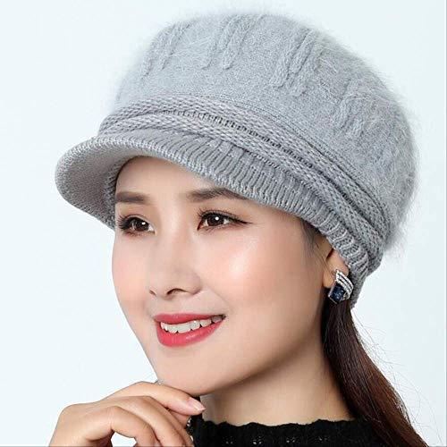 LUP Wollmütze für Damen, gestrickt, Kaninchenfell-Mütze, Herbst/Winter, Grau