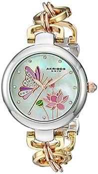 Akribos XXIV Women s Swarovski Crystal Landscaped Watch - Japanese Quartz Movement With Mother-of-Pearl Dial On Chain Link Bracelet - AK934