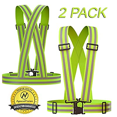 REFLECTIVE VEST (2 Pack) | Lightweight, Adjustable & Elastic | Safety & High Visibility for Running, Jogging, Walking, Cycling | Fits over Outdoor Clothing - Motorcycle Jacket/Running Gear/Shirt