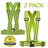 Neon Yellow : Reflective Vest (2 Pack) | Lightweight, Adjustable & Elastic | Safety & High Visibility for Running, Jogging, Walking, Cycling | Fits Over Outdoor Clothing - Motorcycle Jacket/Gear front bicycle light May, 2021