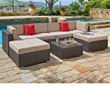 SUNCROWN Outdoor Furniture 7-Piece Sectional Sofa Set, All-Weather Brown Wicker and Modern Glass Coffee Table, Waterproof Cover Included (Beige Cushion)