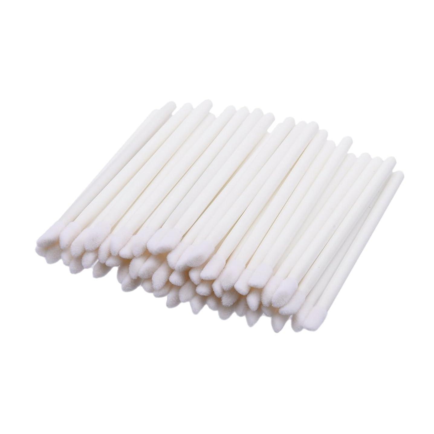 女性組立事前Perfk 約50個入り 使い捨て リップグロスブラシ リップスティック ワンド メイクアップ アプリケータ 携帯用 便利 化粧リップ 業務用  全4色 - 白