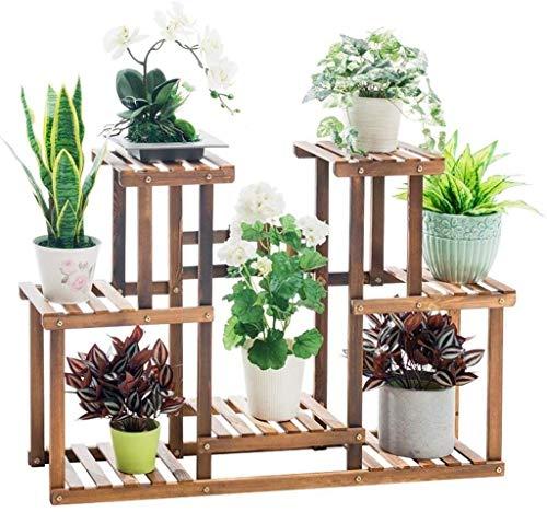 Nuokix Flor de Madera sólida Plataforma Multi-Capa de Soporte de Suelo de la Planta de la Maceta Balcón Patio Decoración