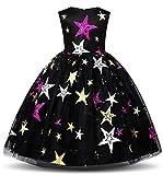 NNJXD Filles Pentagram Imprimé Robe Robe Carnaval Fantaisie Costume Taille (140) 6-7 Ans Noir