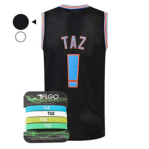 AFLGO Taz #! Space Basketball Movie Jersey Kostüm S-XXL 90er Jahre Kostüm Hip Hop Party Kleidung inkl. Set Armbänder - Schwarz, M