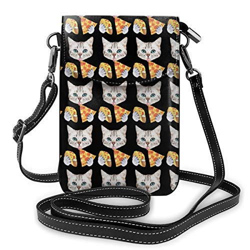 XCNGG bolso del telfono Fashion Crossbody Cell Phone Purse - Funny Cat Taco Pizza Cartoon Pattern - Women PU Leather smart phone Shoulder Pouch Handbag with Adjustable Strap