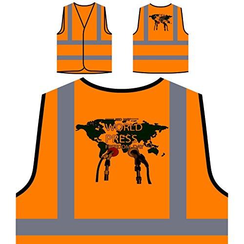 Libertad de prensa mundial Novedad Divertida Chaqueta de seguridad naranja personalizado de alta visibilidad a771vo