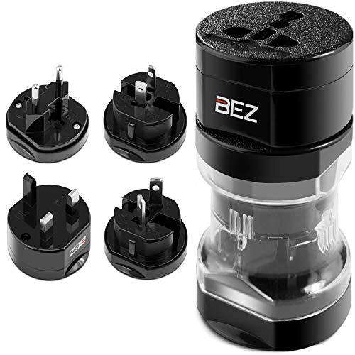 BEZ Reisestecker, Reiseadapter Steckdosenadapter, Universal Adapter Set mit Reisetasche, Adapterstecker für Deutschland/England [UK] / USA/Italien/Frankreich/Kanada/Irland - Schwarz