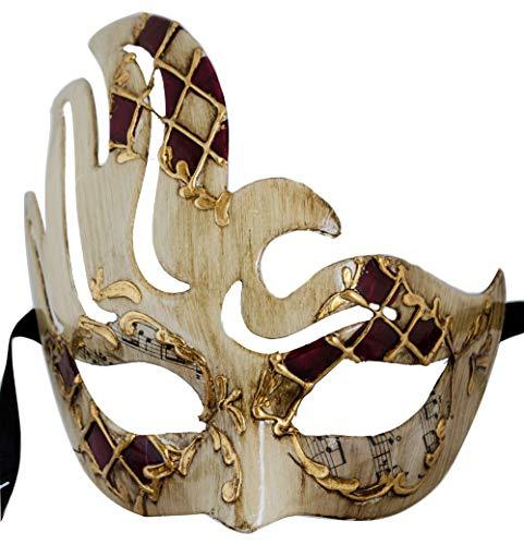 LannaKind Handgefertigte Venezianische Maske Augenmaske Colombina Damen und Herren (C06 Rot)