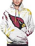 Men's Hoodie Sweatshirts Sweatwear Long Sleeve Custom Graphics Football Team Splash Ink Logo Pullover Fans Gift (Cardinal-3x-Large)