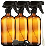 Nylea 3 Pack Glass Spray Bottles (16 OZ) - Durable and Refillable - Amber Spray Bottles for Cleaning Solutions - Essential Oil Spray Bottle with Sturdy Sprayer and Resistant Nozzle