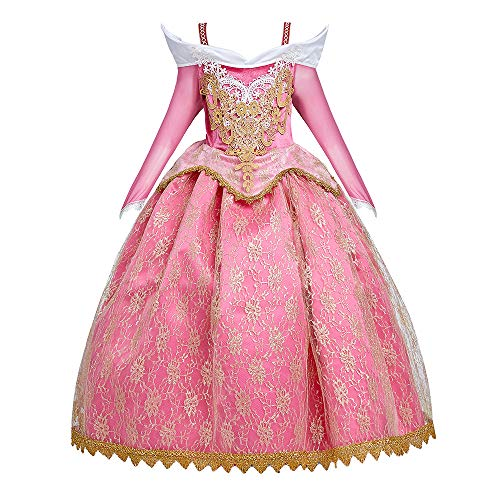 Girl Off Shoulder Sleeping Princess Aurora Costume Birthday Party Dress Up Halloween Outfit