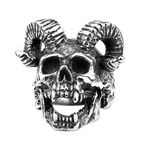 LUOEM RVS Skull Ring Vintage Schapen Ram Geit Schedel Hoofd Gotische Ring Punk Band Ring voor Halloween Party Man Gift 6.2 X 1.98cm