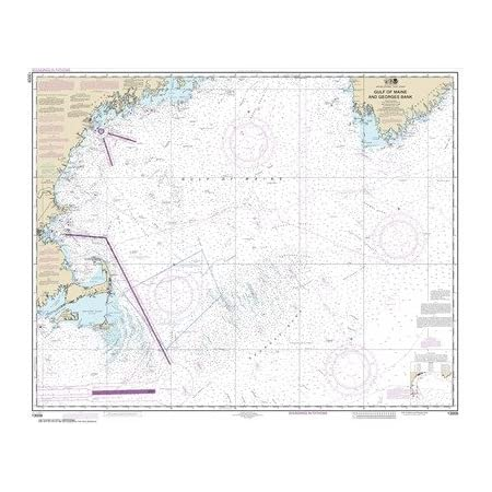 35.71 X 43.1 Matte Plastic Map NOAA Chart 13009 Gulf of Maine and Georges Bank