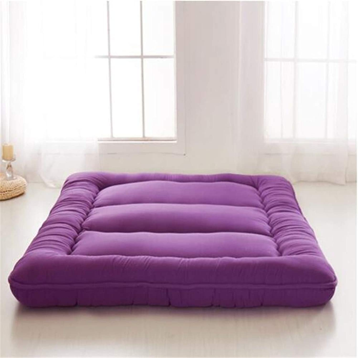 Mattress Sleeping Tatami Floor Mat Collapsible Soft Thick Mattres Traditional Futon Mat Japanese Bed Roll Student Dormitory Mattress (color   Purple, Size   120x200cm(47x79inch))