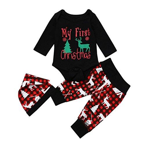 KanLin1986 Abbigliamento per Bambini Autunnali e Invernali Natale Bambino Neonato Lettera Ragazza Romper Cime + Pantaloni Cervi Natale Abiti Set