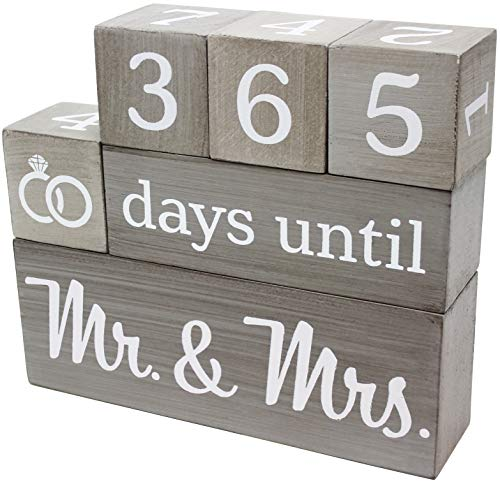 Wedding Countdown Calendar Wooden Blocks - Engagement Gifts - Bride to Be - Bridal Shower Gift - Engaged - Engagement Gifts for Couples - Rustic Gray with White Numbers