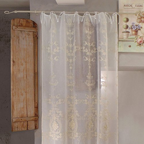 AT17 Tenda Shabby Chic Poliestere Ricamata 140 x 290 Colore off White Ricamo Ecru Voile Comete Collection