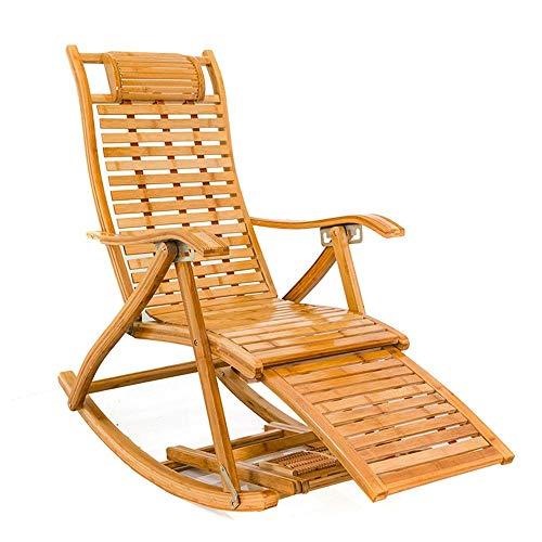 NO BRAND Tumbonas Jardin Mecedora de bambú Silla Plegable con reposapiés Ajustable extendido y masajear los pies Extensibles Exteriores del Consejo Balcón sillas (Color, Silla + Mat),Silla