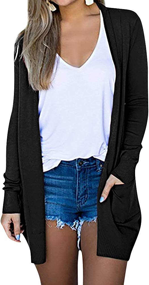 RHSWAUD Women Plus Size Open Front Cardigan Solid Color Long Sleeve Cardigan with Pocket