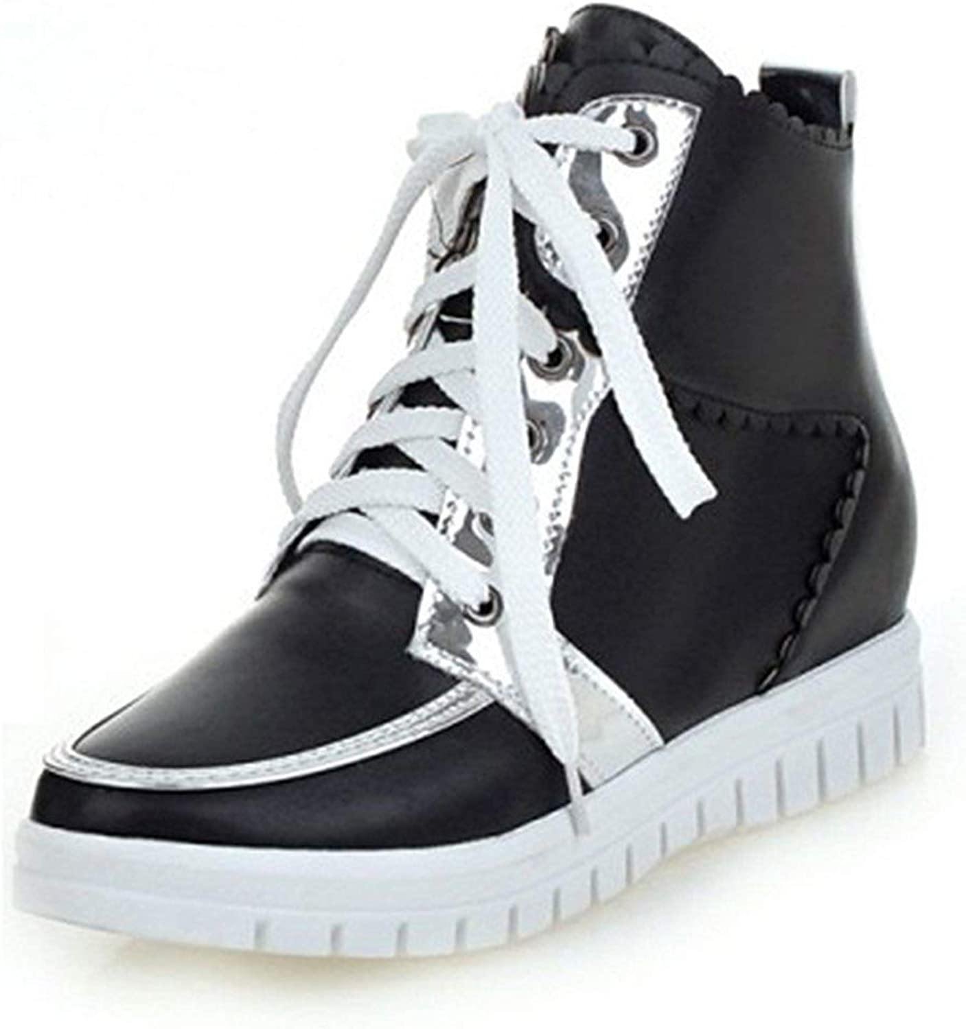 Gcanwea Women's Casual High Top Lace-up Ankle Booties Heighten Inside Platform Sneakers Stylish Leather Comfortable Fashion Girls Attractive Winter Warm Non-Slip Black 4 M US Sneakers