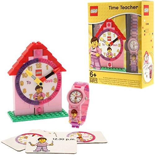 LEGO 9005039 Time Teacher Rosa Kinder-Armbanduhr mit Minifigur und Gliederarmband zum Zusammenbauen| Uhr zum Zusammenbauen und Aktivitätskarten| rosa/weiß| Kunststoff| Gehäusedurchmesser 25mm| analoge Quarzuhr| Junge/ Mädchen| offiziell