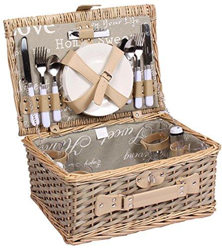 Picknickkorb für 4 Personen Weidenkorb mit praktischem Inhalt inklusive Teller Gläser