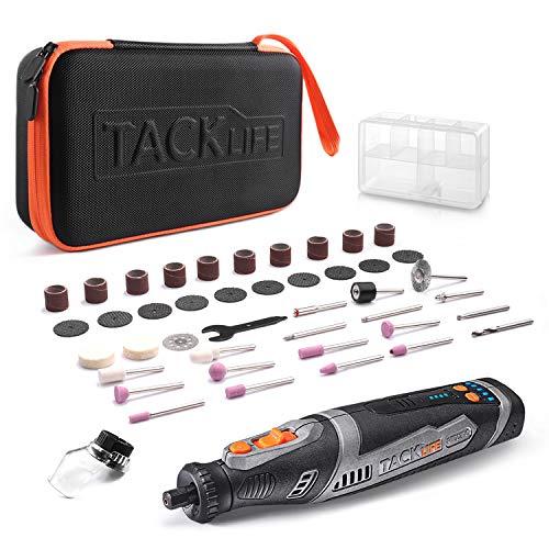 Tacklife Akku Multifunktionswerkzeug 8V, Set mit 43 Zubehörteilen, 5 variable präzise Drehzahlsteuerungen (5000-30000 U/min, 2.0 Ah Li-lon, Tragetasche, Quick Charger)-RTD02DC