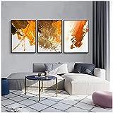 Póster abstracto de pared naranja, rojo y negro, impresión Nordic Simplicity lienzo cuadro, cuadros para salón, decoración del hogar, sin marco (30 x 40 cm x 3)