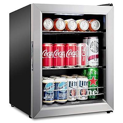 Ivation 62 Can Beverage Refrigerator | Freestanding Ultra Cool Mini Drink Fridge | Beer, Cocktails, Soda, Juice Cooler for Home & Office | Reversible Glass Door & Adjustable Shelving - Stainless Steel