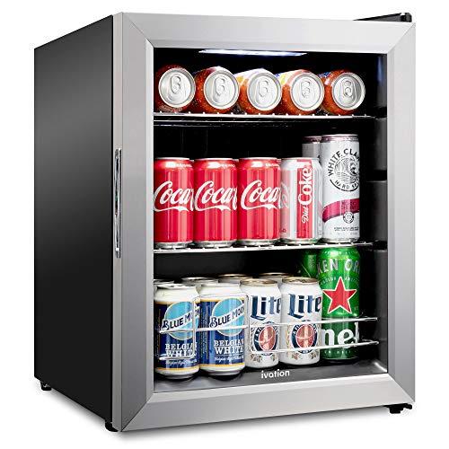 Ivation 62 Can Beverage Refrigerator   Freestanding Ultra Cool Mini Drink Fridge   Beer, Cocktails, Soda, Juice Cooler for Home & Office   Reversible Glass Door & Adjustable Shelving - Stainless Steel
