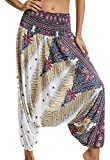 Pantalones de Yoga Mujer Harem Boho del Lazo del Pavo Real Flaral Funky #1 Flor Impresa-A
