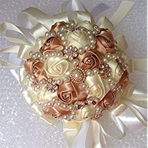 USIX Handcraft Popular Satin Rose Rhinestone Brooch Flower Pearl Bridal Holding Wedding Bouquet Wedding Flower Arrangements Bridesmaid Bouquet